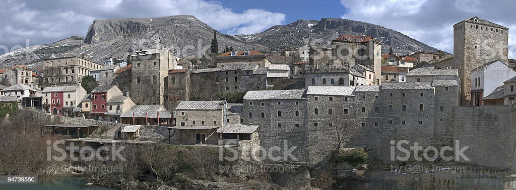Panorama of Mostar Old Town stock photo
