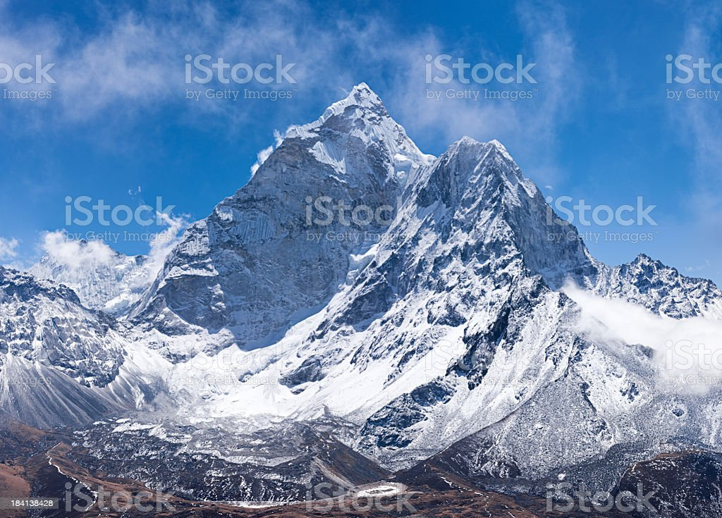 Panorama of Mount Ama Dablam in Nepal stock photo