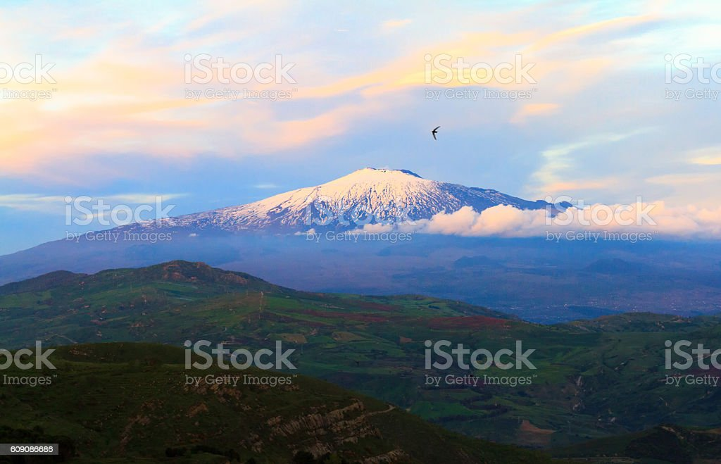 Panorama of Mount Etna in Spring, Sicily stock photo