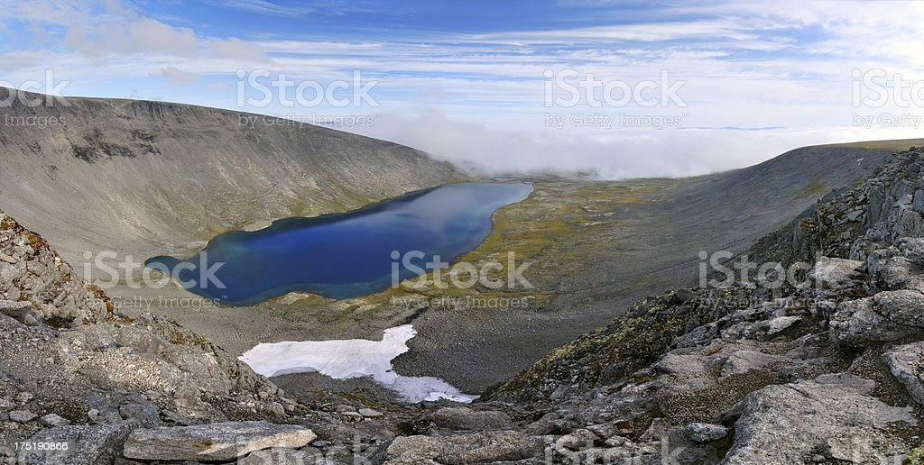 Panorama of mountain lake stock photo