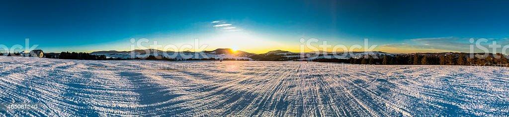 panorama of mountain landscape winter stock photo