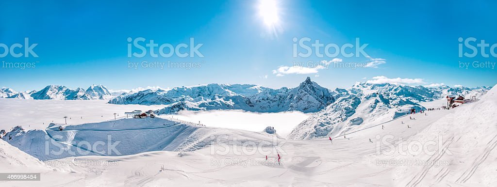 Panorama of Mountain Range winter Landscape in French Alps. stock photo