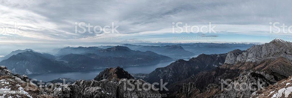 Panorama of mountain ranges above the Como Lake, Italy stock photo