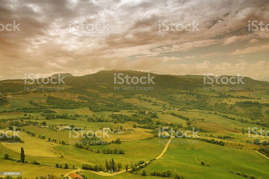 Panorama of mountain vallyes around San Leo, Italy stock photo