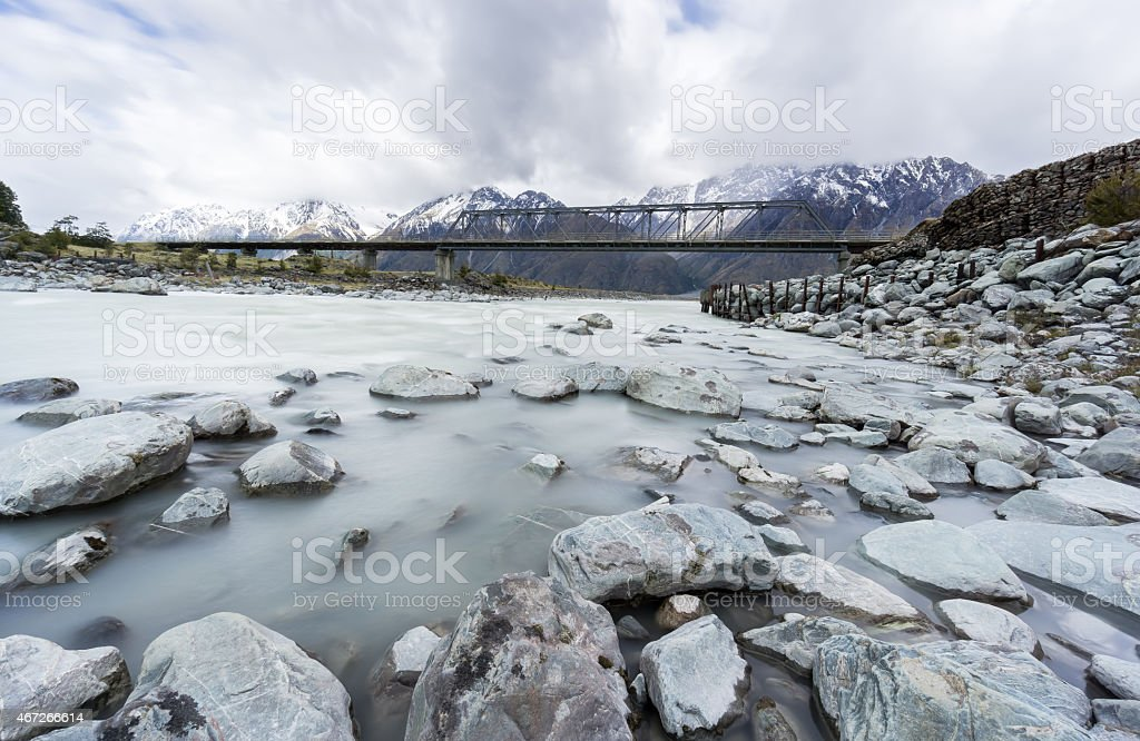 Panorama of mountains and bridge over Hooker River stock photo