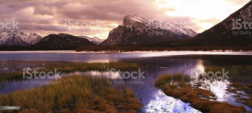 Panorama of mountains and Vermillion Lakes, Canada. royalty-free stock photo