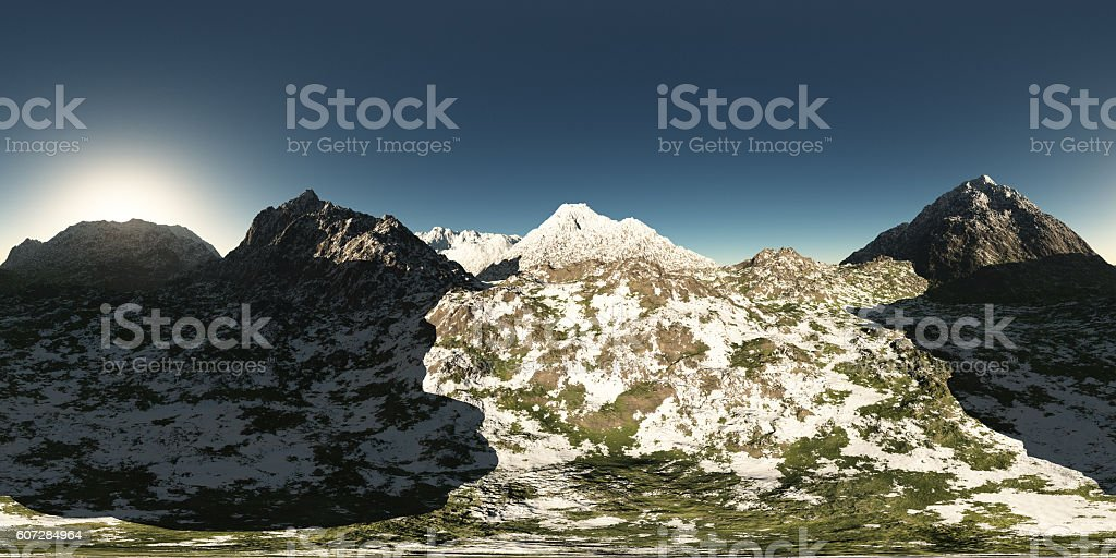 panorama of mountains. made with the 360 degree stock photo