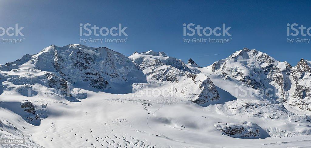Panorama of mountains Palu and Bernina stock photo
