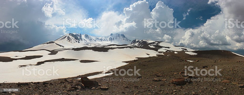 Panorama of Mt. Erciyes, Turkey stock photo
