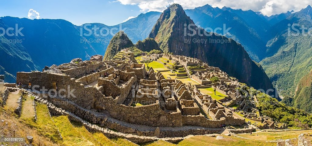 Panorama of Mysterious city - Machu Picchu, Peru,South America stock photo