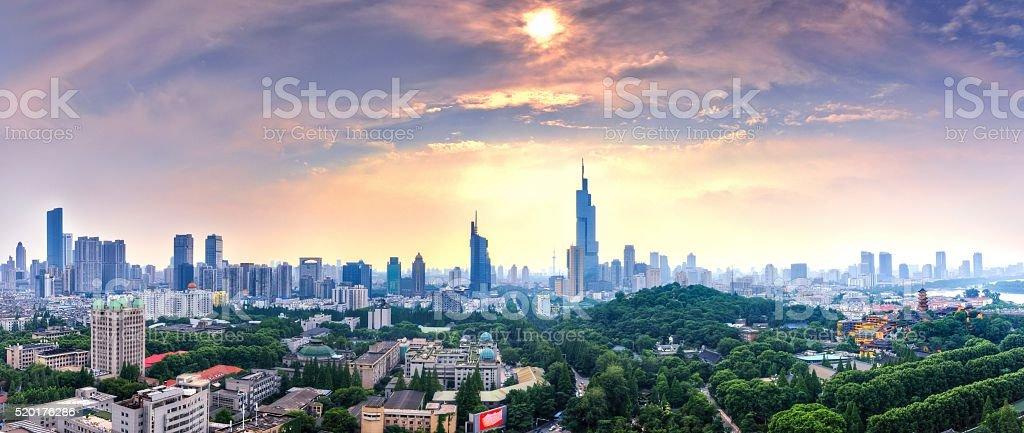 Panorama of Nanjing City stock photo