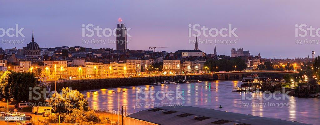 Panorama of Nantes at sunrise stock photo