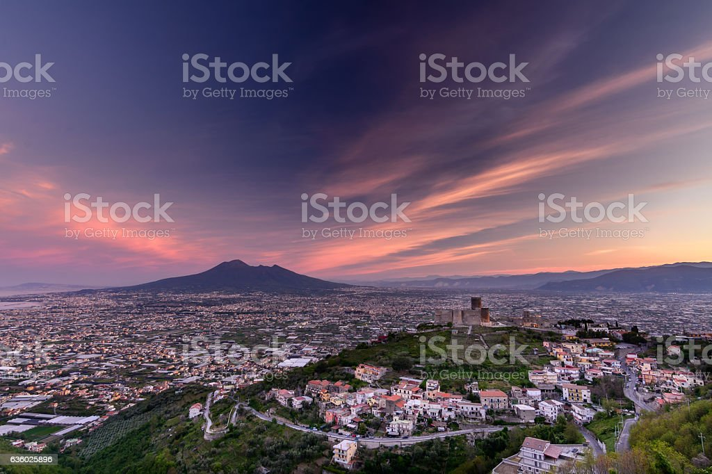 Panorama of Naples and Mount Vesuvius in, Italy. View stock photo