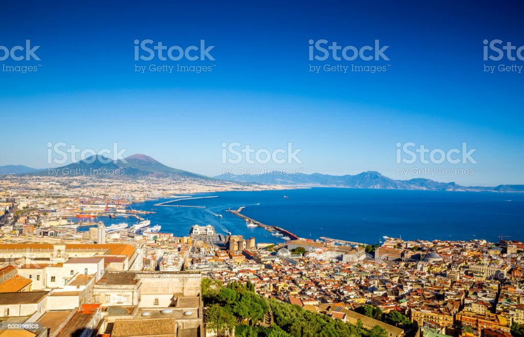 Panorama of Naples city in Italy stock photo