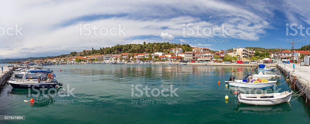 Panorama of Nea Skioni village, Halkidiki, Greece stock photo