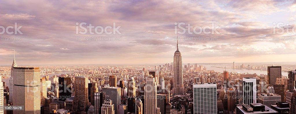 Panorama of New York City Skyline at Sunset royalty-free stock photo