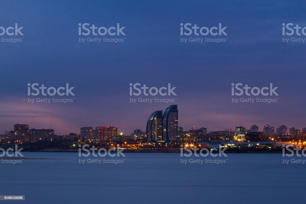 Panorama of night city stock photo
