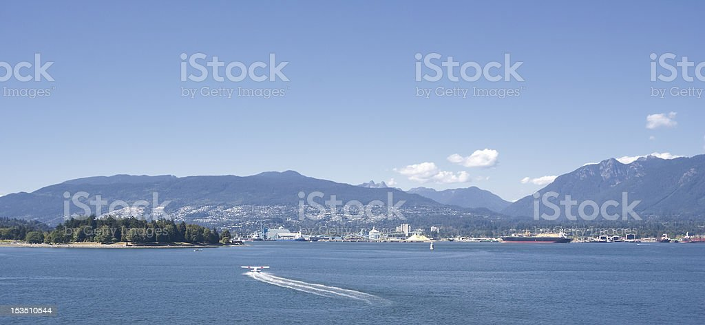 Panorama of North Vancouver and Stanley Park royalty-free stock photo