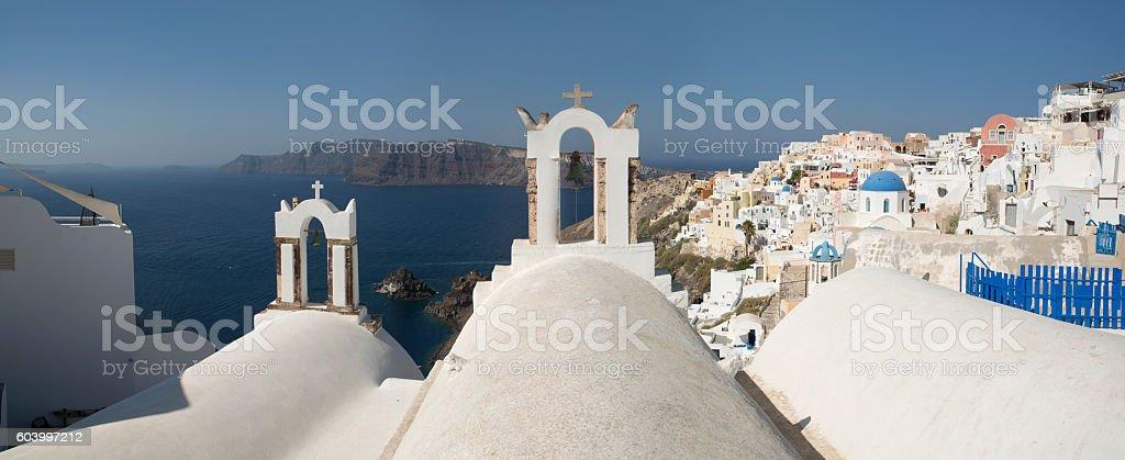 Panorama of Oia village in Santorini island of Greece stock photo