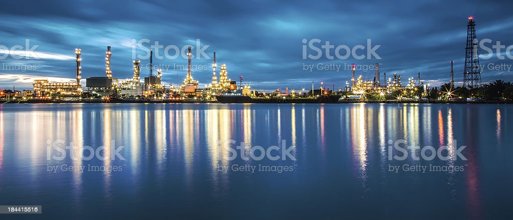 panorama of Oil refinery with reflection stock photo