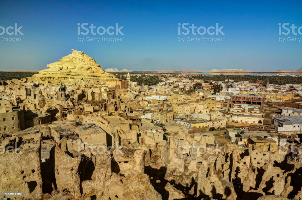 Panorama of old city Shali, mountain Dakrour in Siwa oasis stock photo