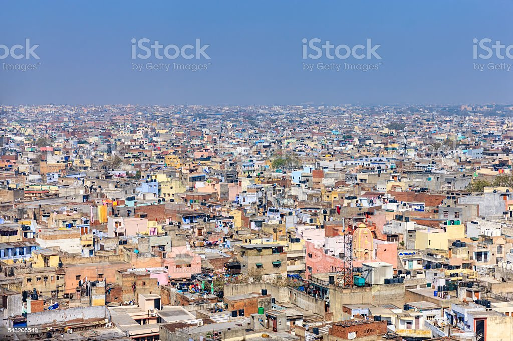 Panorama of Old Delhi, India stock photo