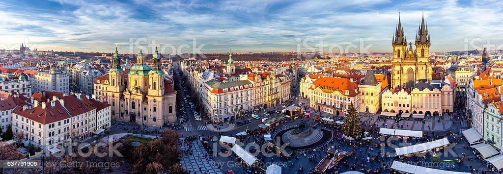 Panorama of Old Town square (Staromestske namesti) during Christmas market stock photo