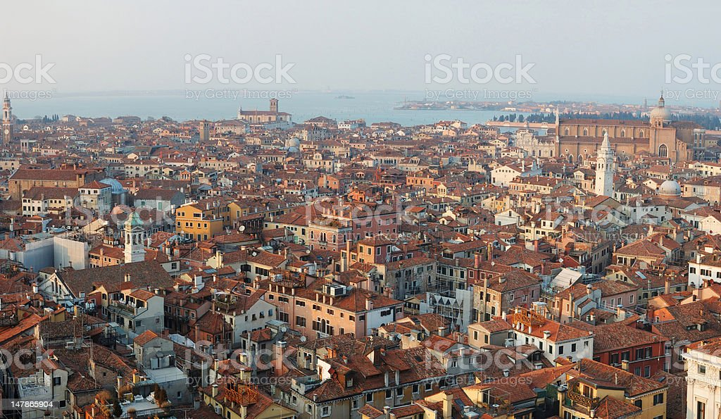 Panorama of old Venice ,Italy, view from the bell tower royalty-free stock photo