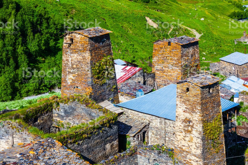 Panorama of old village in the mountains of the Caucasus. Ushguli, Upper Svaneti, Georgia, Europe. stock photo