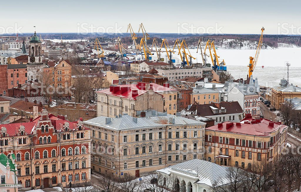 Panorama of old Vyborg town with port royalty-free stock photo