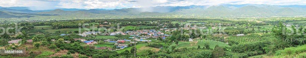 Panorama of Pai, Thailand stock photo