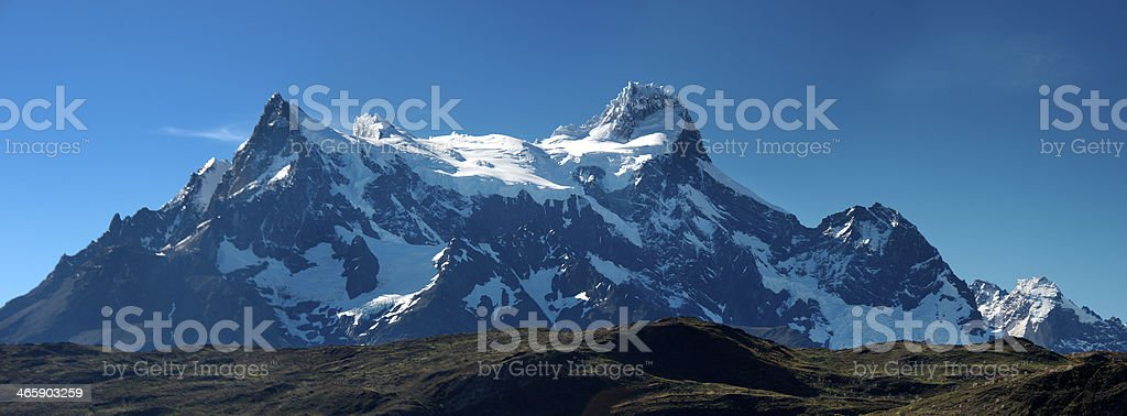 Panorama of Paine Grande from Lake Pehoe royalty-free stock photo