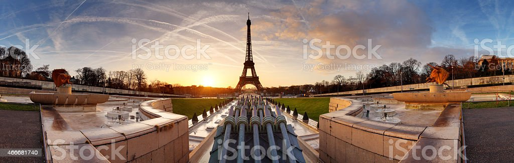 Panorama of Paris at sunrise with Eiffel tower stock photo