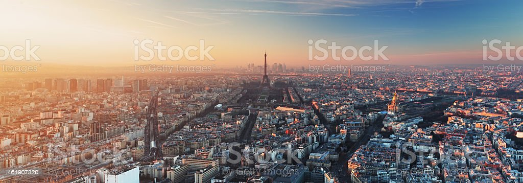 Panorama of Paris at sunset stock photo