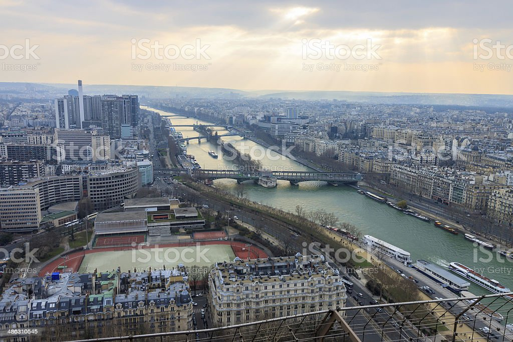 Panorama of Paris from Eiffel tower stock photo