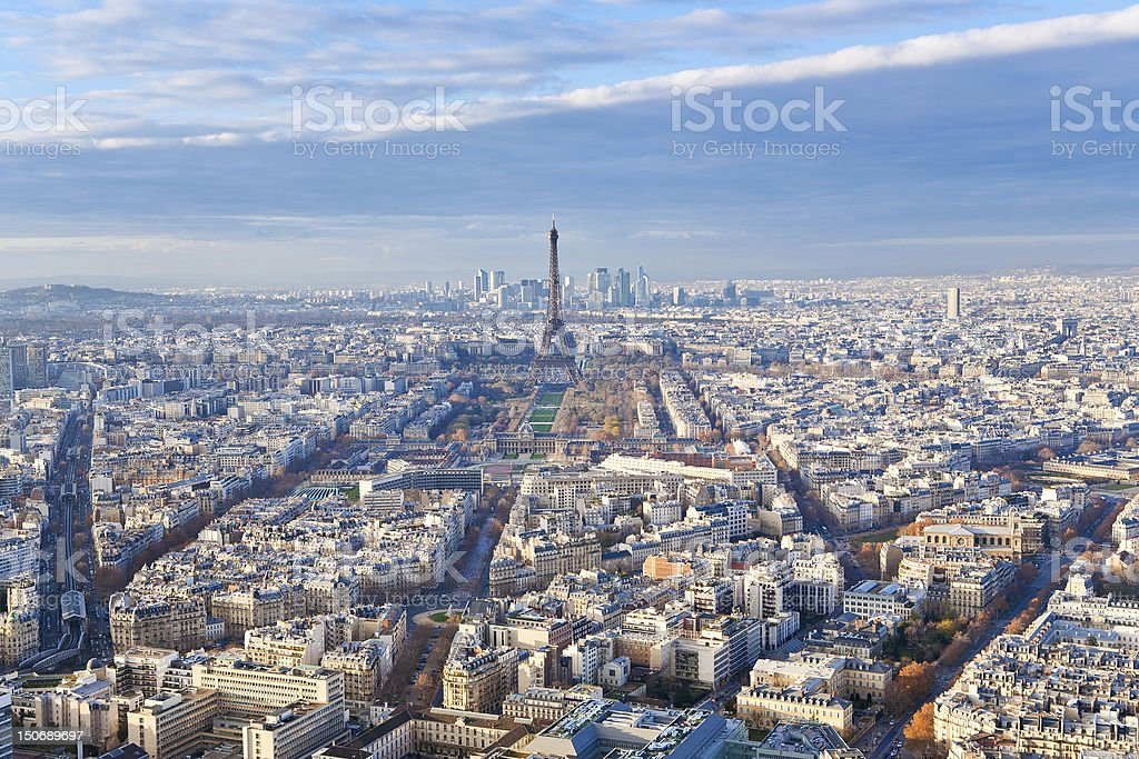panorama of Paris in winter afternoon royalty-free stock photo