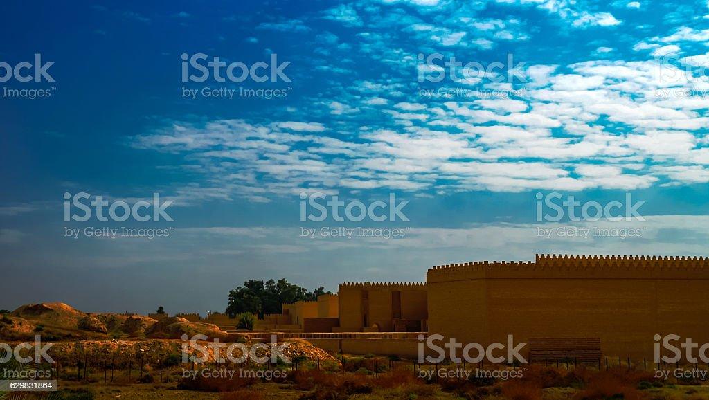 Panorama of partially restored Babylon ruins, Hillah Iraq stock photo