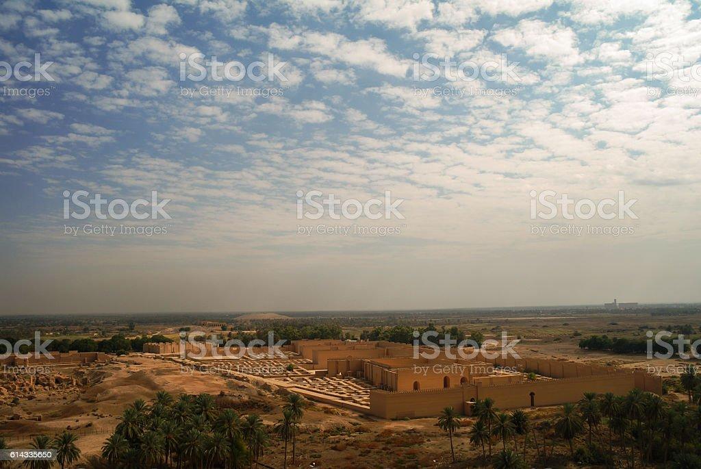 Panorama of partially restored Babylon ruins, Iraq stock photo