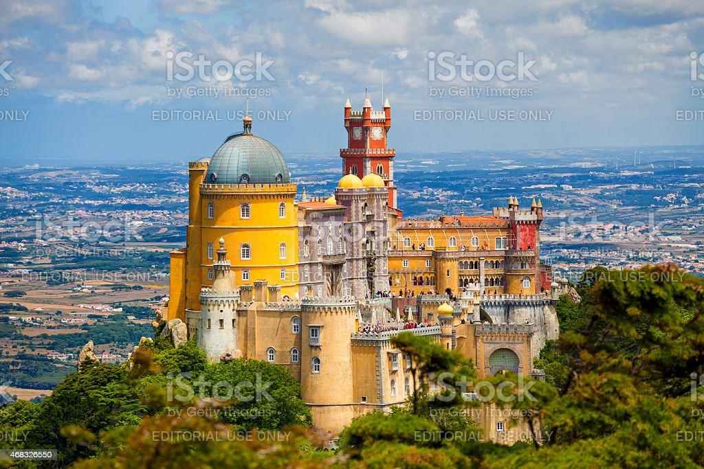 Panorama of Pena National Palace above Sintra town stock photo