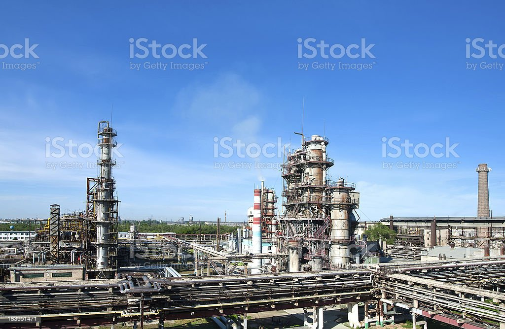 panorama of petrochemical refinery royalty-free stock photo