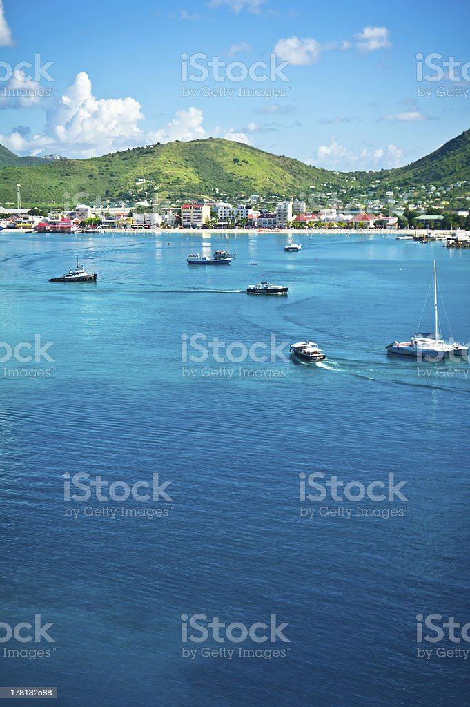 Panorama of Philipsburg, Saint Martin, Caribbean Islan royalty-free stock photo