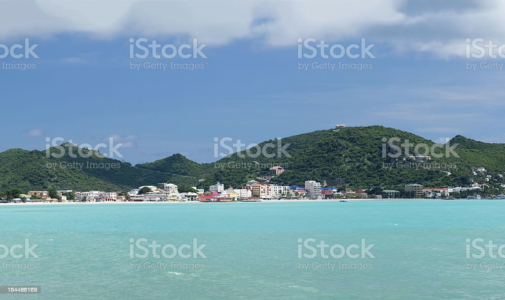Panorama of Philipsburg Sint Maarten royalty-free stock photo
