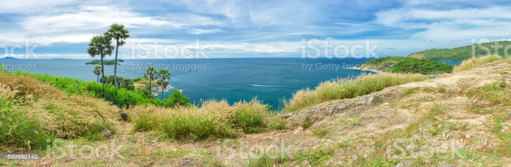 Panorama of Phromthep cape viewpoint in Phuket,Thailand stock photo