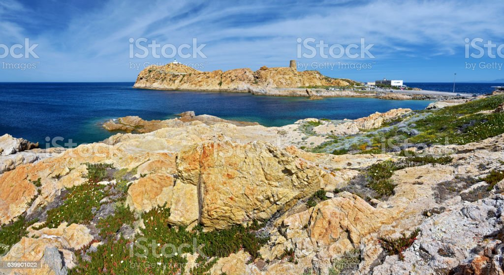 Panorama of Pietra Islet landscape in Corsica stock photo