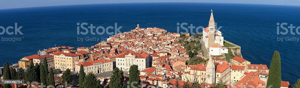 Panorama of Piran stock photo