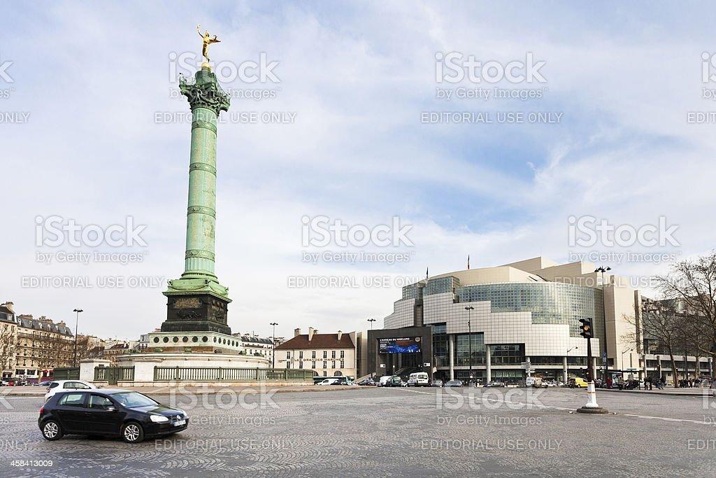 panorama of Place de la Bastille in Paris stock photo