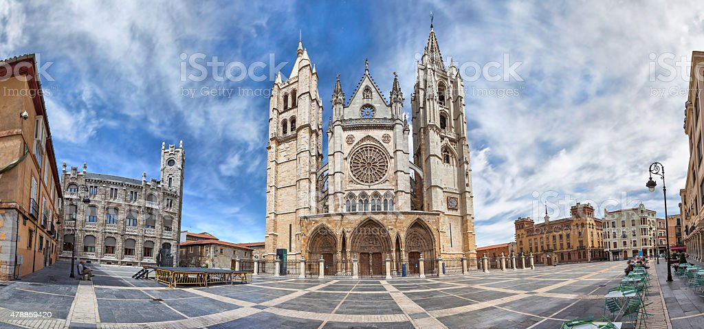 Panorama of Plaza de Regla and Leon Cathedral, Spain stock photo