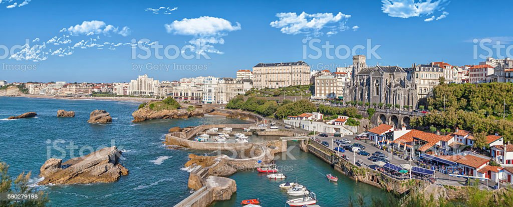 Panorama of port area in Biarritz stock photo