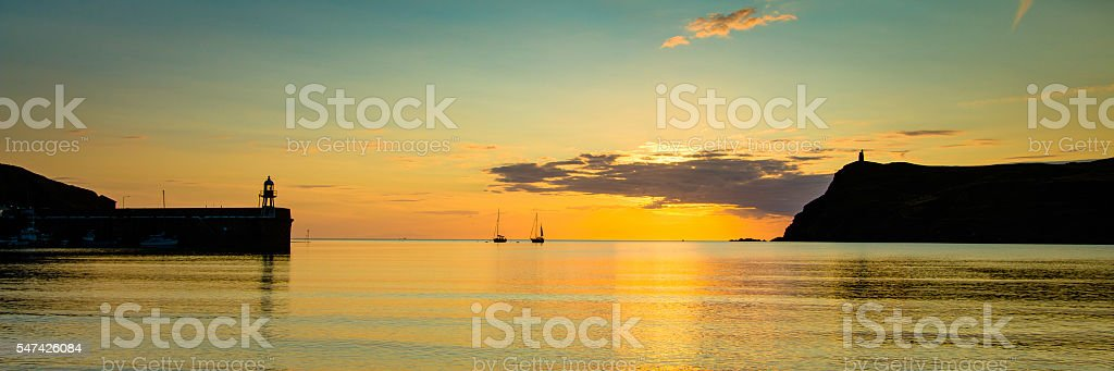 Panorama of Port Erin Bay at sunset stock photo