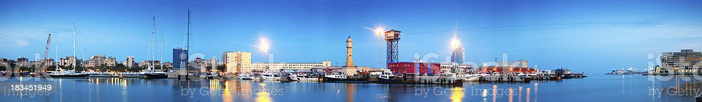 panorama of Port Vell in sunset stock photo
